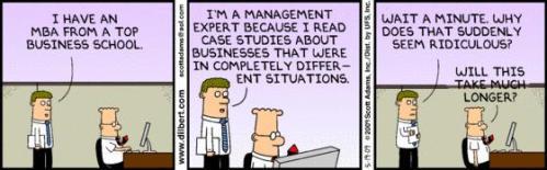 Dilbert weet dat adviseren alleen ook niet genoeg is
